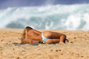 Title: Girl Laying on Beach Photo Of: stock Type: Bikini Girls