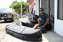 Title: Ian with Board Bags Location: Mexico Surfer: Gentil, Ian Type: Portraits
