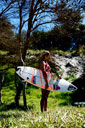 Title: Leanne with Board Surfer: Curren, LeAnn Type: Portraits
