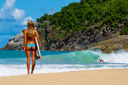 Title: Quincy Bottom Turn Beach Bikini Location: Caribbean Surfer: Davis, Quincy Type: Action
