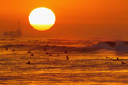 Title: Huntington Sunset Lineup Photo Of: stock Type: Sunsets
